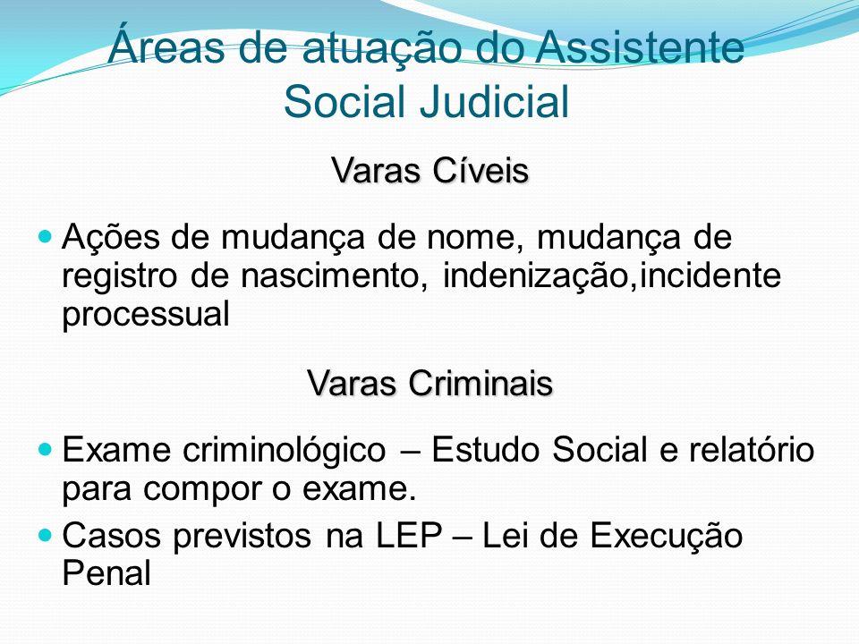 Áreas de atuação do Assistente Social Judicial Varas Cíveis Ações de mudança de nome, mudança de registro de nascimento, indenização,incidente process