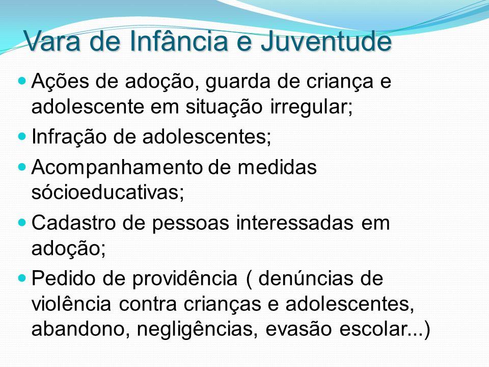 Vara de Infância e Juventude Ações de adoção, guarda de criança e adolescente em situação irregular; Infração de adolescentes; Acompanhamento de medid