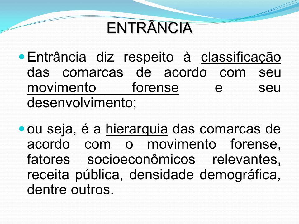 ENTRÂNCIA Entrância diz respeito à classificação das comarcas de acordo com seu movimento forense e seu desenvolvimento; ou seja, é a hierarquia das c