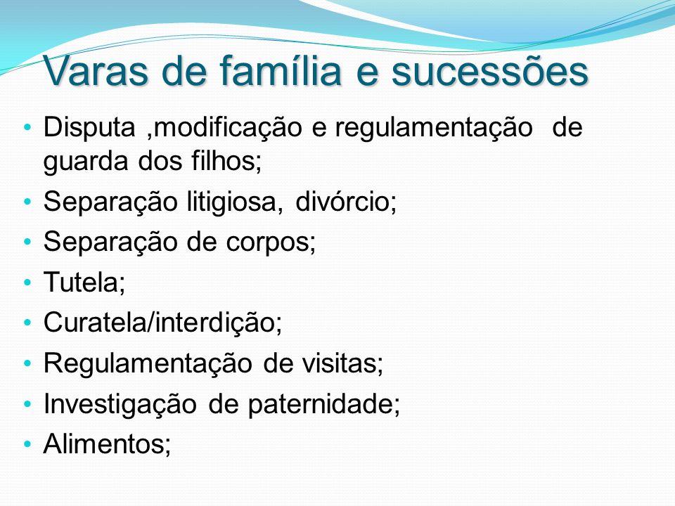 Varas de família e sucessões Disputa,modificação e regulamentação de guarda dos filhos; Separação litigiosa, divórcio; Separação de corpos; Tutela; Cu