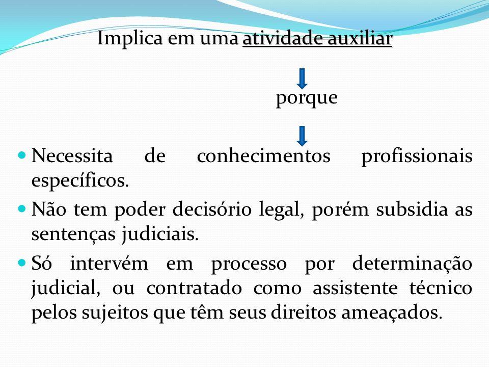 atividade auxiliar Implica em uma atividade auxiliar porque Necessita de conhecimentos profissionais específicos. Não tem poder decisório legal, porém