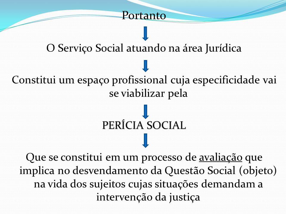 Portanto O Serviço Social atuando na área Jurídica Constitui um espaço profissional cuja especificidade vai se viabilizar pela PERÍCIA SOCIAL Que se c