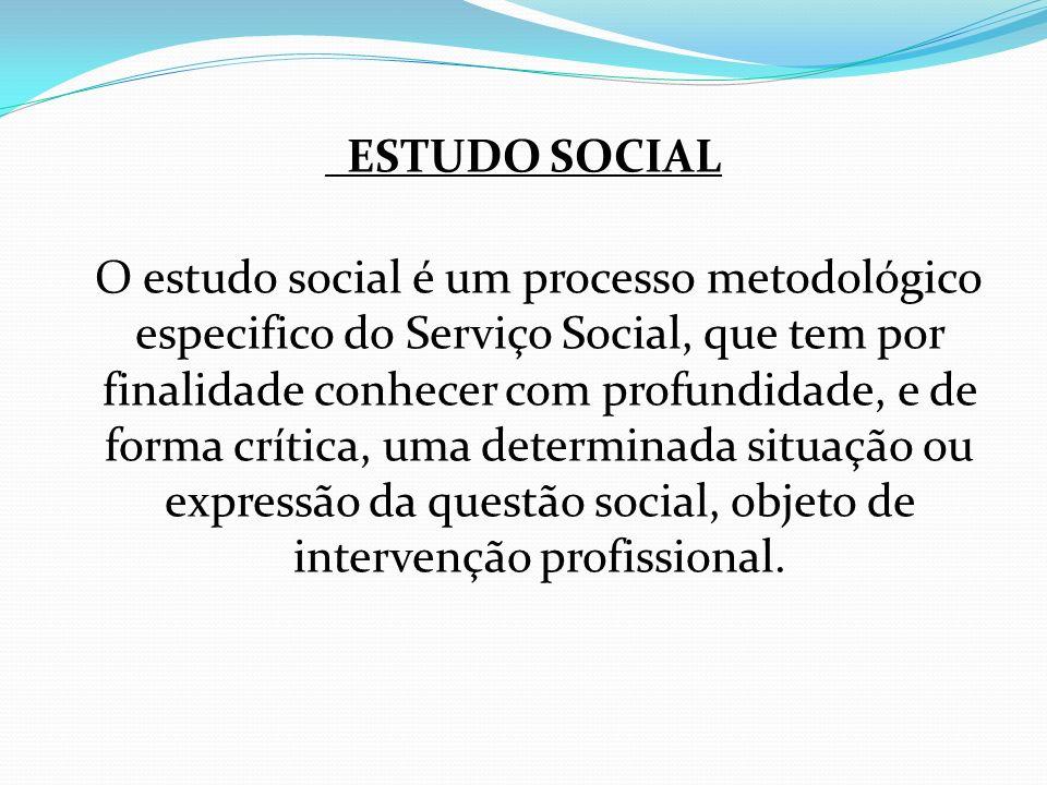 ESTUDO SOCIAL O estudo social é um processo metodológico especifico do Serviço Social, que tem por finalidade conhecer com profundidade, e de forma cr