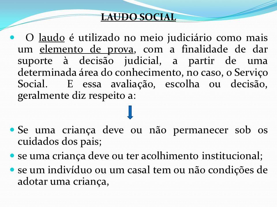LAUDO SOCIAL O laudo é utilizado no meio judiciário como mais um elemento de prova, com a finalidade de dar suporte à decisão judicial, a partir de um