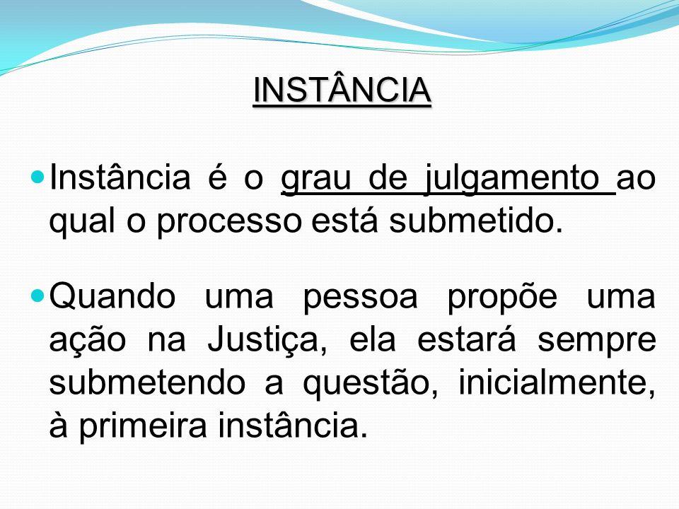 INSTÂNCIA Instância é o grau de julgamento ao qual o processo está submetido. Quando uma pessoa propõe uma ação na Justiça, ela estará sempre submeten