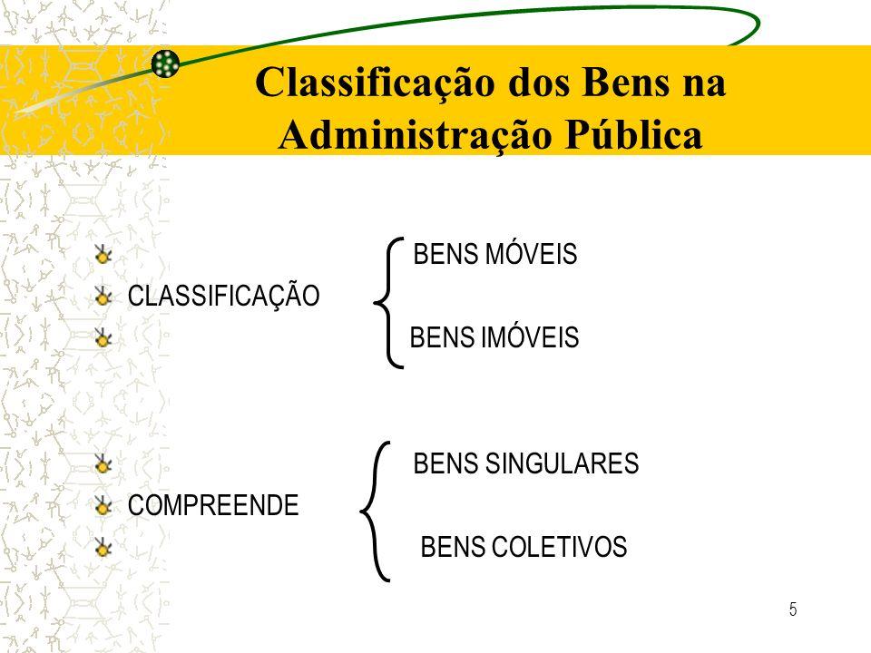 Classificação dos Bens na Administração Pública BENS MÓVEIS CLASSIFICAÇÃO BENS IMÓVEIS BENS SINGULARES COMPREENDE BENS COLETIVOS 5