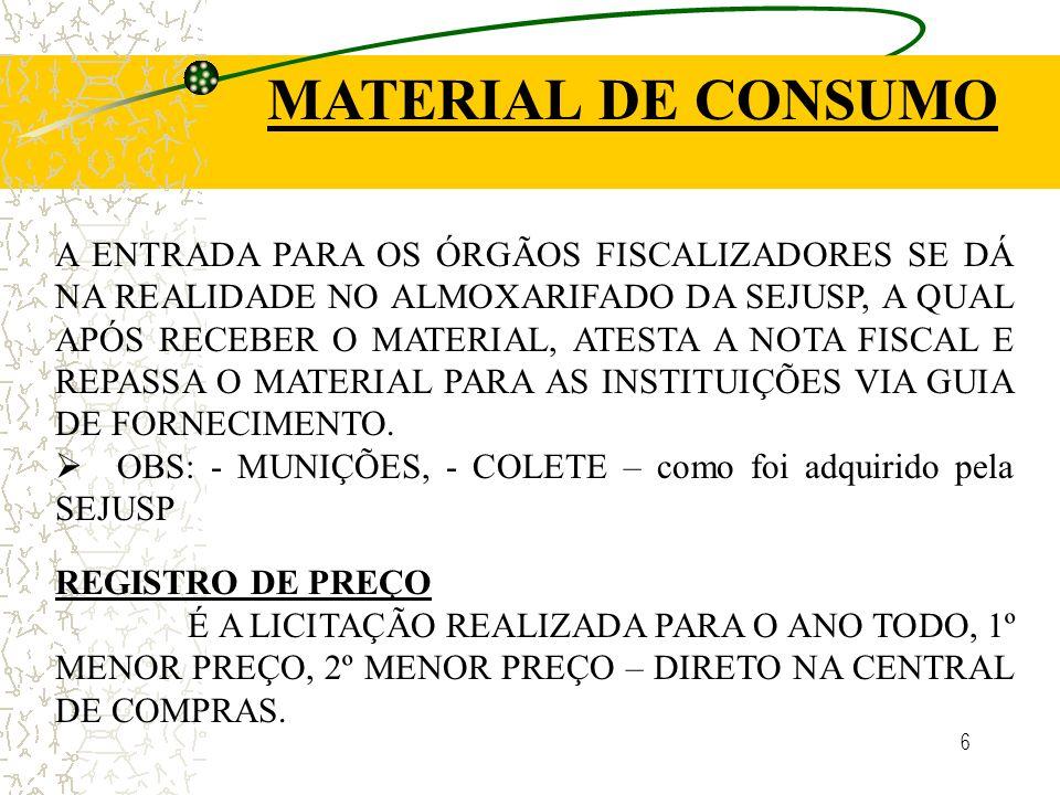 6 MATERIAL DE CONSUMO A ENTRADA PARA OS ÓRGÃOS FISCALIZADORES SE DÁ NA REALIDADE NO ALMOXARIFADO DA SEJUSP, A QUAL APÓS RECEBER O MATERIAL, ATESTA A NOTA FISCAL E REPASSA O MATERIAL PARA AS INSTITUIÇÕES VIA GUIA DE FORNECIMENTO.