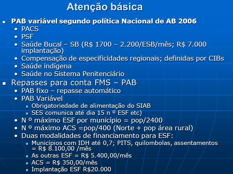Atenção básica PAB variável segundo política Nacional de AB 2006 PAB variável segundo política Nacional de AB 2006 PACSPACS PSFPSF Saúde Bucal – SB (R$ 1700 – 2.200/ESB/mês; R$ 7.000 implantação)Saúde Bucal – SB (R$ 1700 – 2.200/ESB/mês; R$ 7.000 implantação) Compensação de especificidades regionais; definidas por CIBsCompensação de especificidades regionais; definidas por CIBs Saúde indígenaSaúde indígena Saúde no Sistema PenitenciárioSaúde no Sistema Penitenciário Repasses para conta FMS – PAB Repasses para conta FMS – PAB PAB fixo – repasse automáticoPAB fixo – repasse automático PAB VariávelPAB Variável Obrigatoriedade de alimentação do SIAB Obrigatoriedade de alimentação do SIAB SES comunica até dia 15 n º ESF etc) SES comunica até dia 15 n º ESF etc) N º máximo ESF por município = pop/2400N º máximo ESF por município = pop/2400 N º máximo ACS =pop/400 (Norte + pop área rural)N º máximo ACS =pop/400 (Norte + pop área rural) Duas modalidades de financiamento para ESF:Duas modalidades de financiamento para ESF: Municípios com IDH até 0,7; PITS, quilombolas, assentamentos = R$ 8.100,00 /mês Municípios com IDH até 0,7; PITS, quilombolas, assentamentos = R$ 8.100,00 /mês As outras ESF = R$ 5.400,00/mês As outras ESF = R$ 5.400,00/mês ACS = R$ 350,00/mês ACS = R$ 350,00/mês Implantação ESF R$20.000 Implantação ESF R$20.000