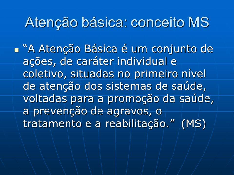 Atenção básica: conceito MS A Atenção Básica é um conjunto de ações, de caráter individual e coletivo, situadas no primeiro nível de atenção dos sistemas de saúde, voltadas para a promoção da saúde, a prevenção de agravos, o tratamento e a reabilitação.
