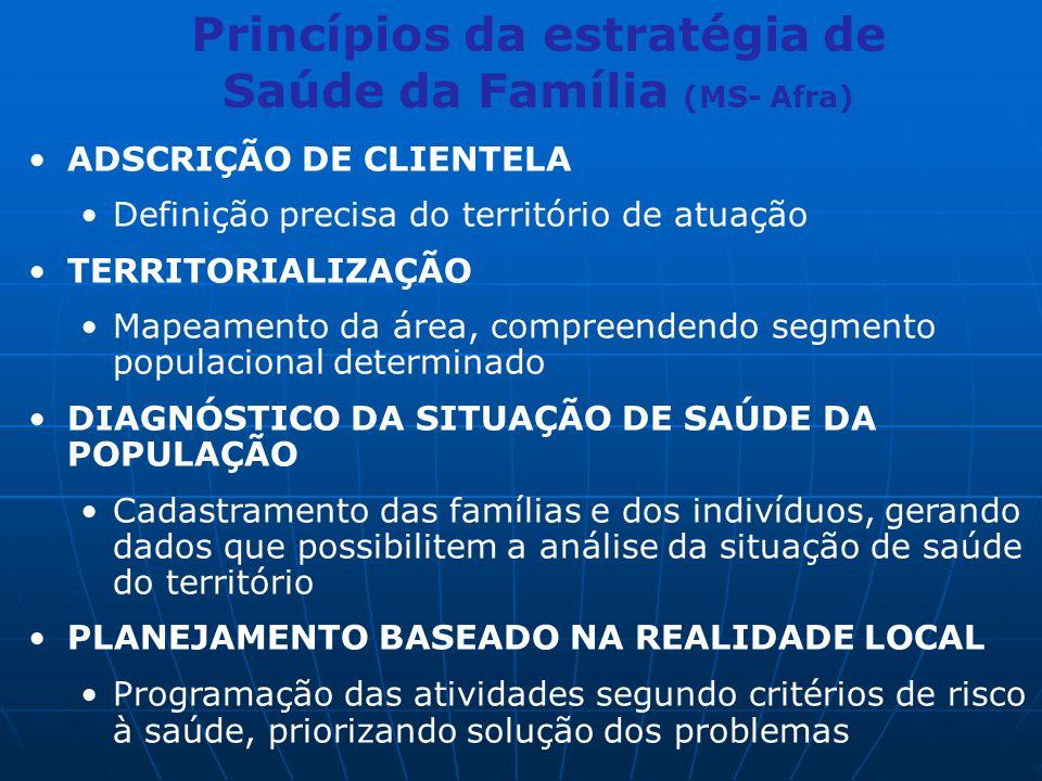 Princípios da estratégia de Saúde da Família (MS- Afra) ADSCRIÇÃO DE CLIENTELA Definição precisa do território de atuação TERRITORIALIZAÇÃO Mapeamento da área, compreendendo segmento populacional determinado DIAGNÓSTICO DA SITUAÇÃO DE SAÚDE DA POPULAÇÃO Cadastramento das famílias e dos indivíduos, gerando dados que possibilitem a análise da situação de saúde do território PLANEJAMENTO BASEADO NA REALIDADE LOCAL Programação das atividades segundo critérios de risco à saúde, priorizando solução dos problemas
