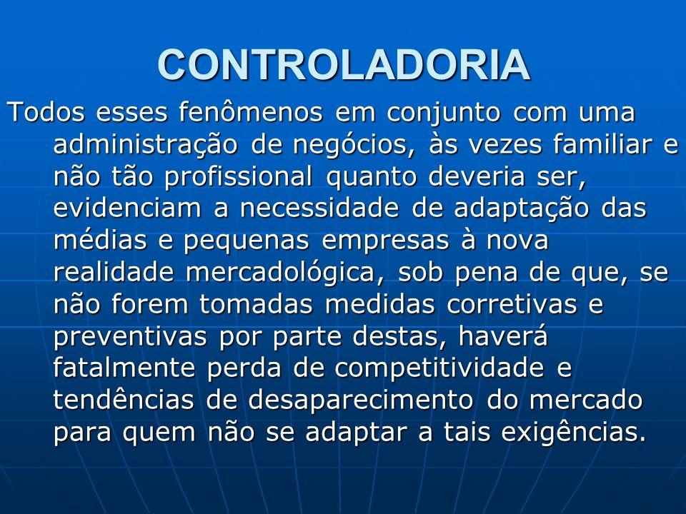 CONTROLADORIA Todos esses fenômenos em conjunto com uma administração de negócios, às vezes familiar e não tão profissional quanto deveria ser, eviden
