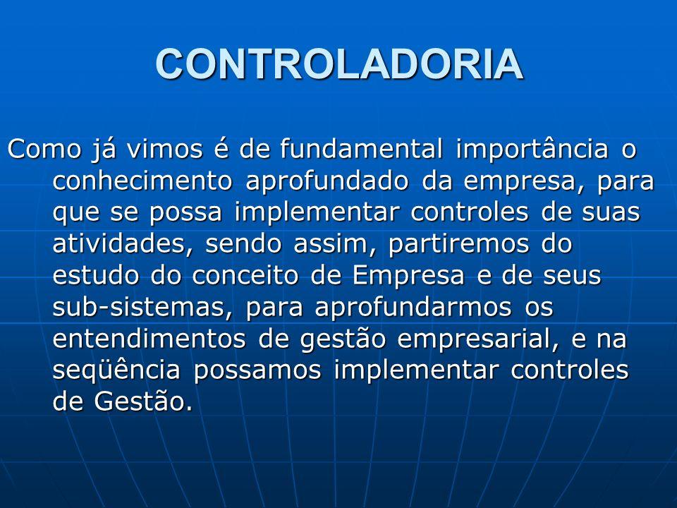 CONTROLADORIA Como já vimos é de fundamental importância o conhecimento aprofundado da empresa, para que se possa implementar controles de suas ativid