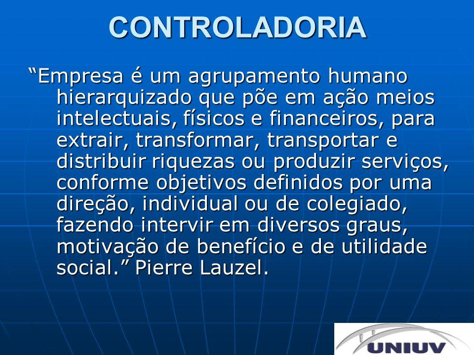 CONTROLADORIA Empresa é um agrupamento humano hierarquizado que põe em ação meios intelectuais, físicos e financeiros, para extrair, transformar, tran
