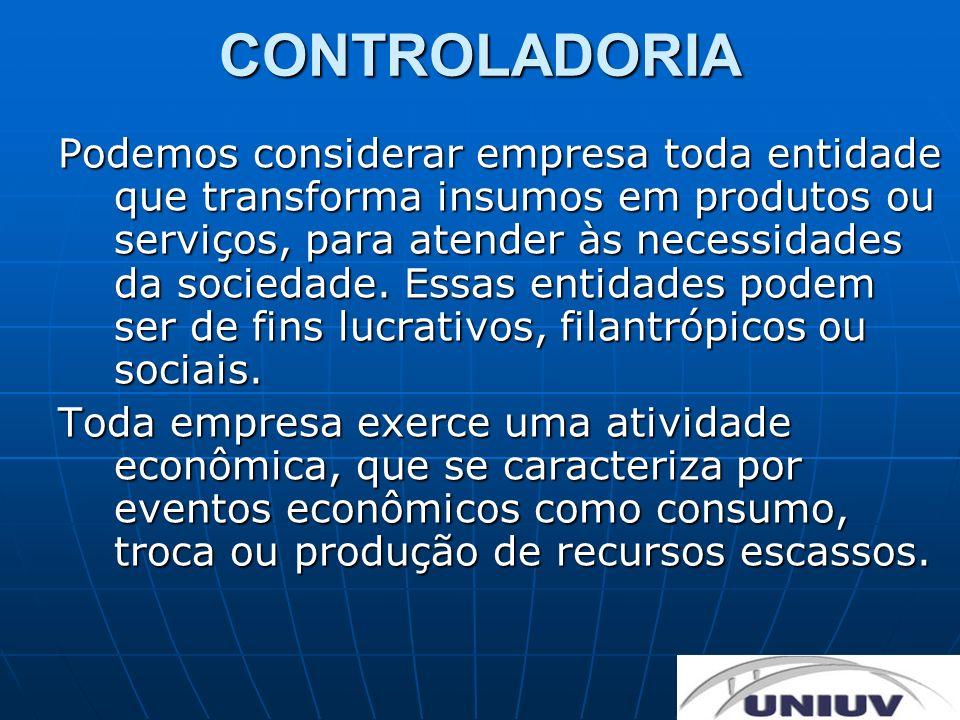 CONTROLADORIA Podemos considerar empresa toda entidade que transforma insumos em produtos ou serviços, para atender às necessidades da sociedade. Essa