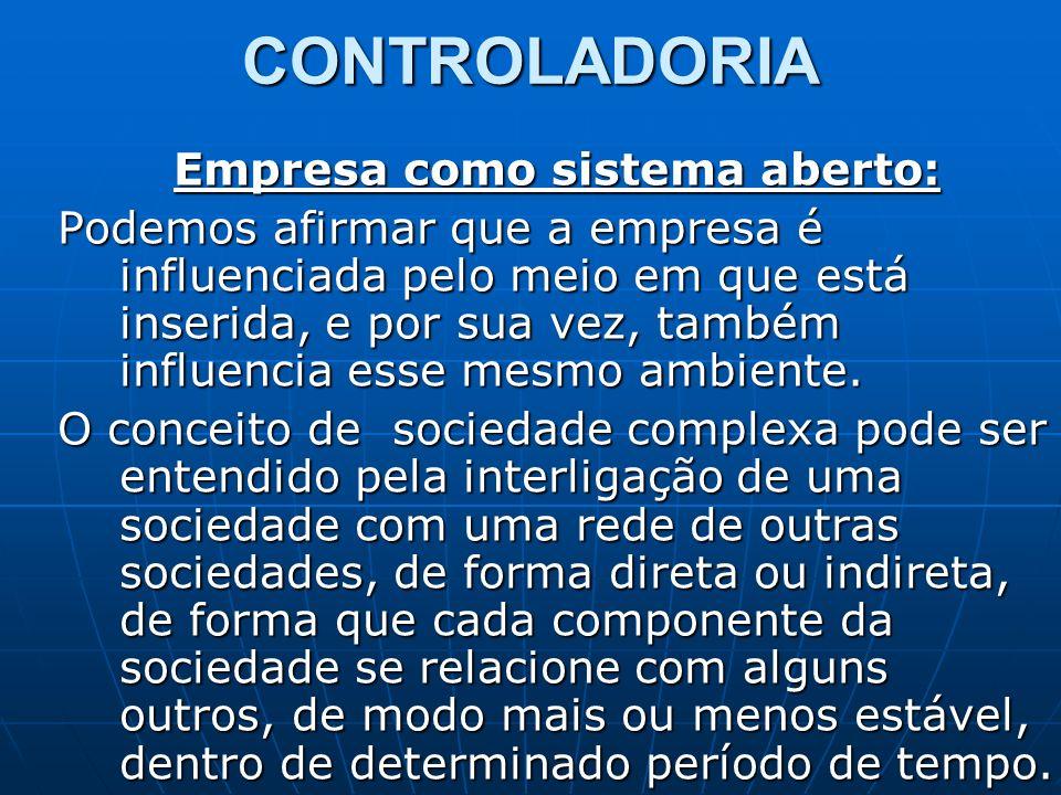 CONTROLADORIA Empresa como sistema aberto: Podemos afirmar que a empresa é influenciada pelo meio em que está inserida, e por sua vez, também influenc
