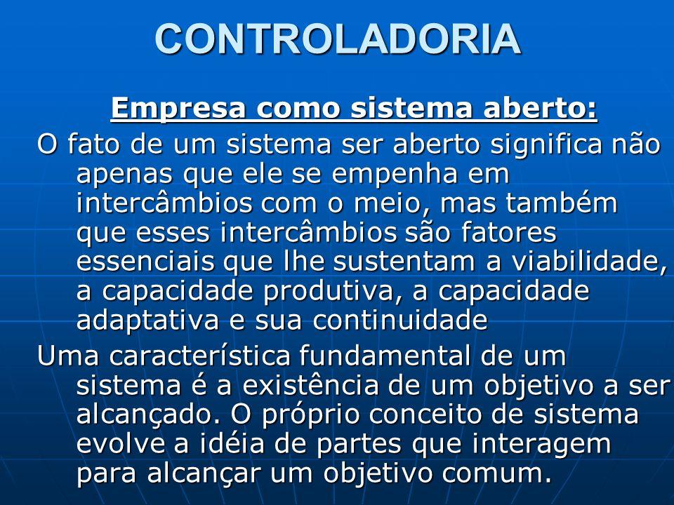 CONTROLADORIA Empresa como sistema aberto: O fato de um sistema ser aberto significa não apenas que ele se empenha em intercâmbios com o meio, mas tam