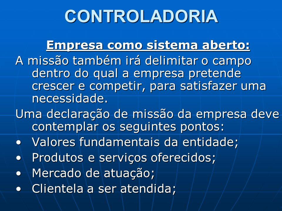 CONTROLADORIA Empresa como sistema aberto: A missão também irá delimitar o campo dentro do qual a empresa pretende crescer e competir, para satisfazer