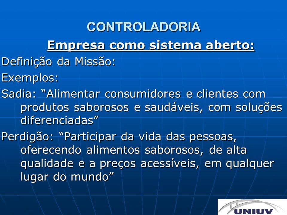 CONTROLADORIA Empresa como sistema aberto: Definição da Missão: Exemplos: Sadia: Alimentar consumidores e clientes com produtos saborosos e saudáveis,