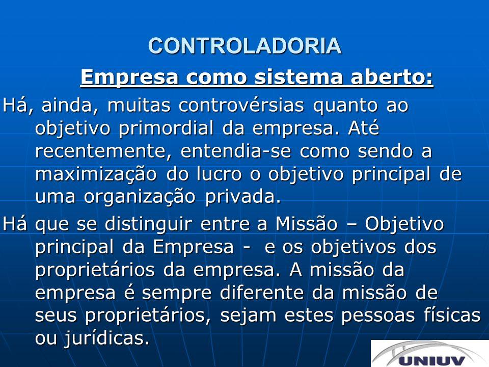 CONTROLADORIA Empresa como sistema aberto: Há, ainda, muitas controvérsias quanto ao objetivo primordial da empresa. Até recentemente, entendia-se com