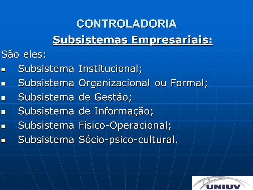 CONTROLADORIA Subsistemas Empresariais: São eles: Subsistema Institucional; Subsistema Institucional; Subsistema Organizacional ou Formal; Subsistema