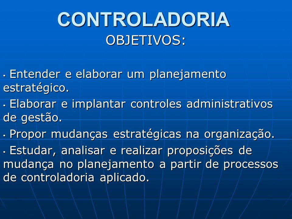 CONTROLADORIAOBJETIVOS: Entender e elaborar um planejamento estratégico. Entender e elaborar um planejamento estratégico. Elaborar e implantar control