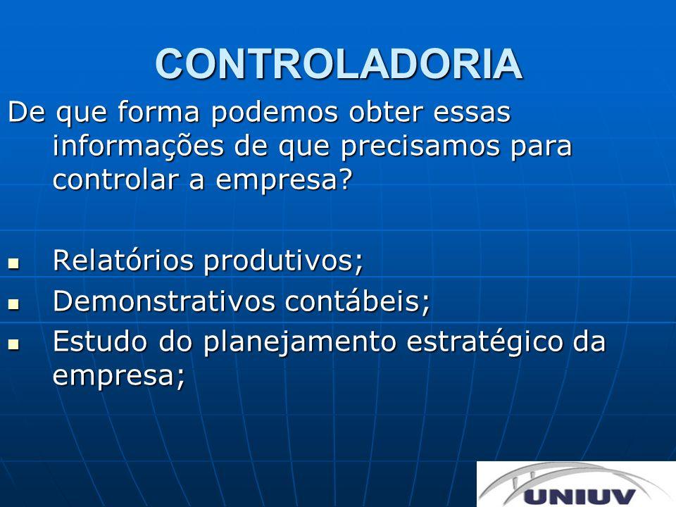 CONTROLADORIA De que forma podemos obter essas informações de que precisamos para controlar a empresa? Relatórios produtivos; Relatórios produtivos; D