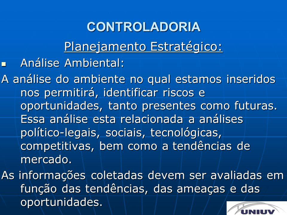 CONTROLADORIA Planejamento Estratégico: Análise Ambiental: Análise Ambiental: A análise do ambiente no qual estamos inseridos nos permitirá, identific