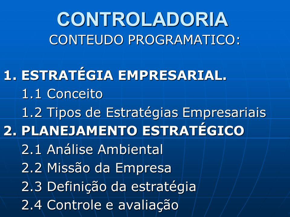 CONTROLADORIA CONTEUDO PROGRAMATICO: 1. ESTRATÉGIA EMPRESARIAL. 1.1 Conceito 1.1 Conceito 1.2 Tipos de Estratégias Empresariais 1.2 Tipos de Estratégi