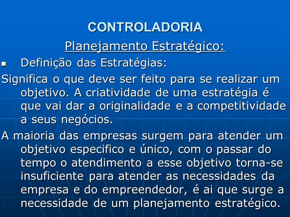 CONTROLADORIA Planejamento Estratégico: Definição das Estratégias: Definição das Estratégias: Significa o que deve ser feito para se realizar um objet