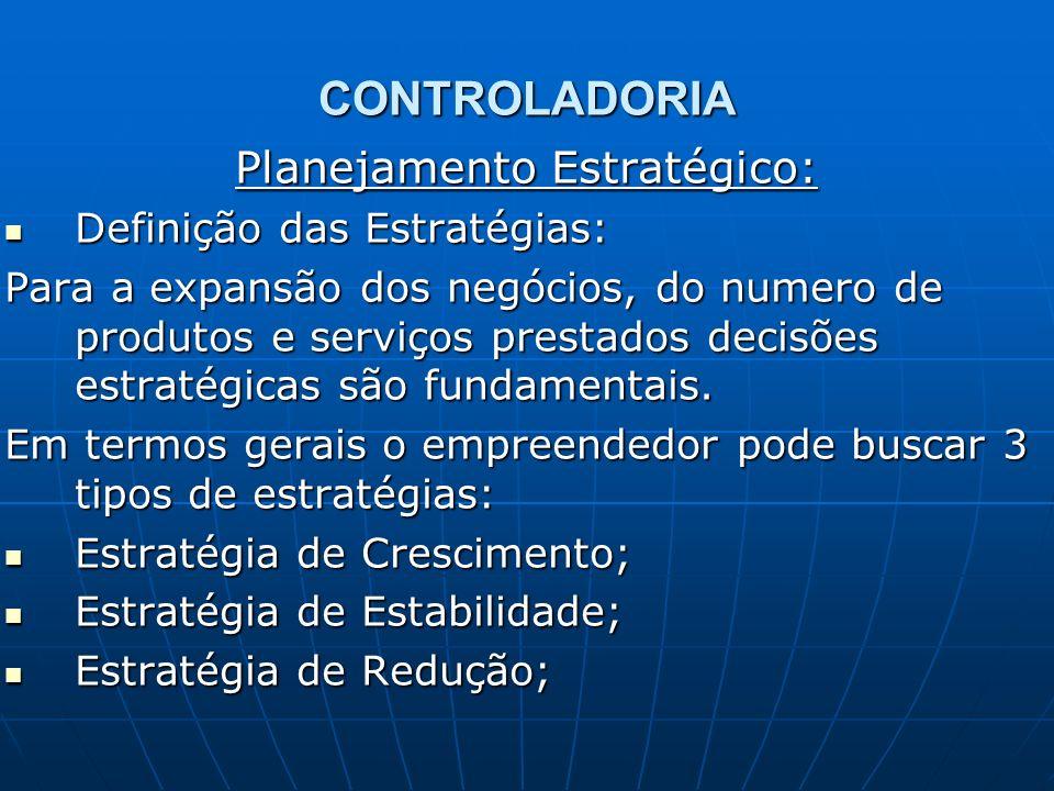 CONTROLADORIA Planejamento Estratégico: Definição das Estratégias: Definição das Estratégias: Para a expansão dos negócios, do numero de produtos e se