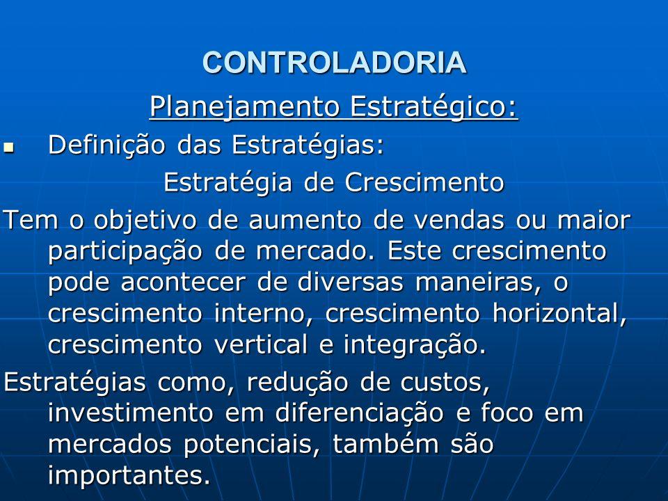 CONTROLADORIA Planejamento Estratégico: Definição das Estratégias: Definição das Estratégias: Estratégia de Crescimento Tem o objetivo de aumento de v