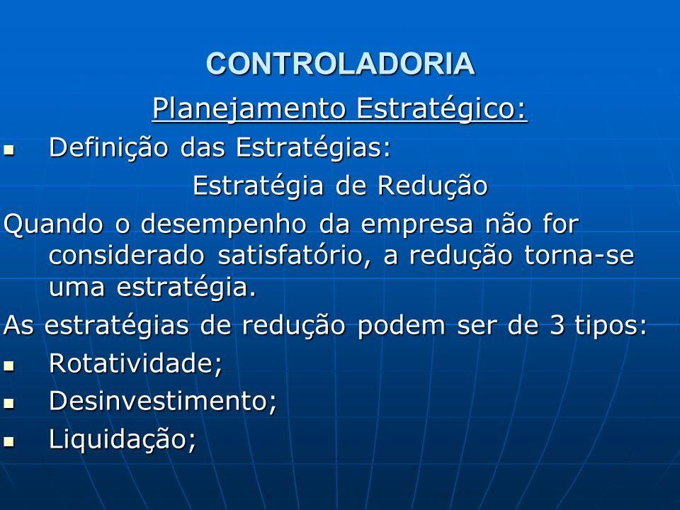 CONTROLADORIA Planejamento Estratégico: Definição das Estratégias: Definição das Estratégias: Estratégia de Redução Quando o desempenho da empresa não