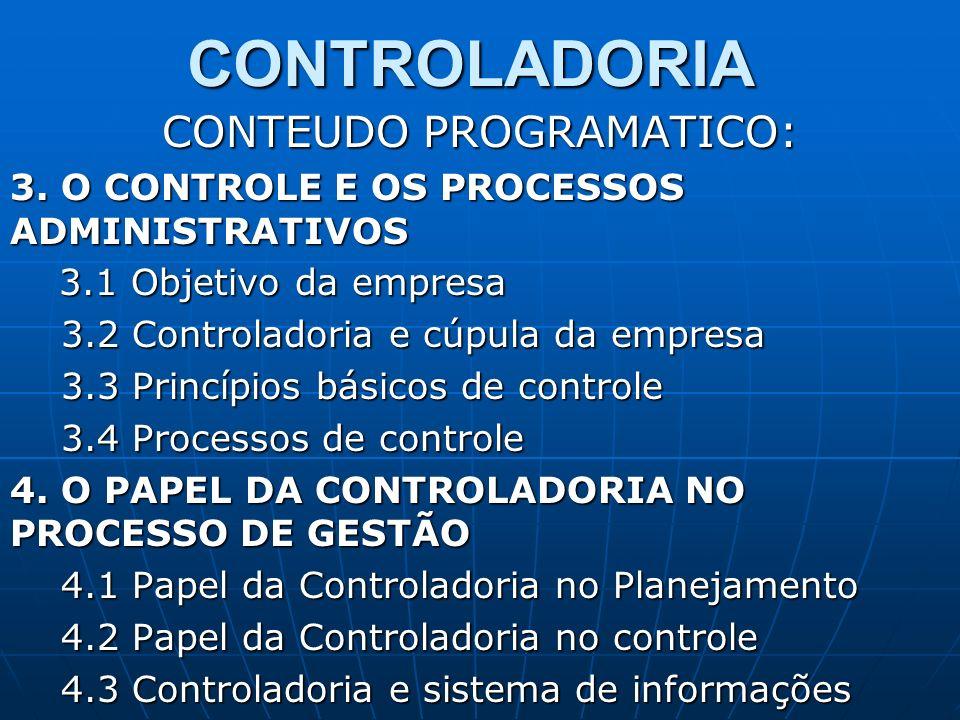 CONTROLADORIA CONTEUDO PROGRAMATICO: 3. O CONTROLE E OS PROCESSOS ADMINISTRATIVOS 3.1 Objetivo da empresa 3.1 Objetivo da empresa 3.2 Controladoria e