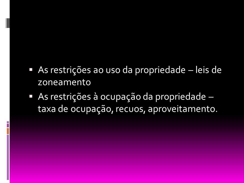 As restrições ao uso da propriedade – leis de zoneamento As restrições à ocupação da propriedade – taxa de ocupação, recuos, aproveitamento.