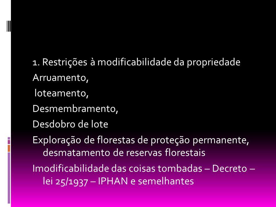 1. Restrições à modificabilidade da propriedade Arruamento, loteamento, Desmembramento, Desdobro de lote Exploração de florestas de proteção permanent