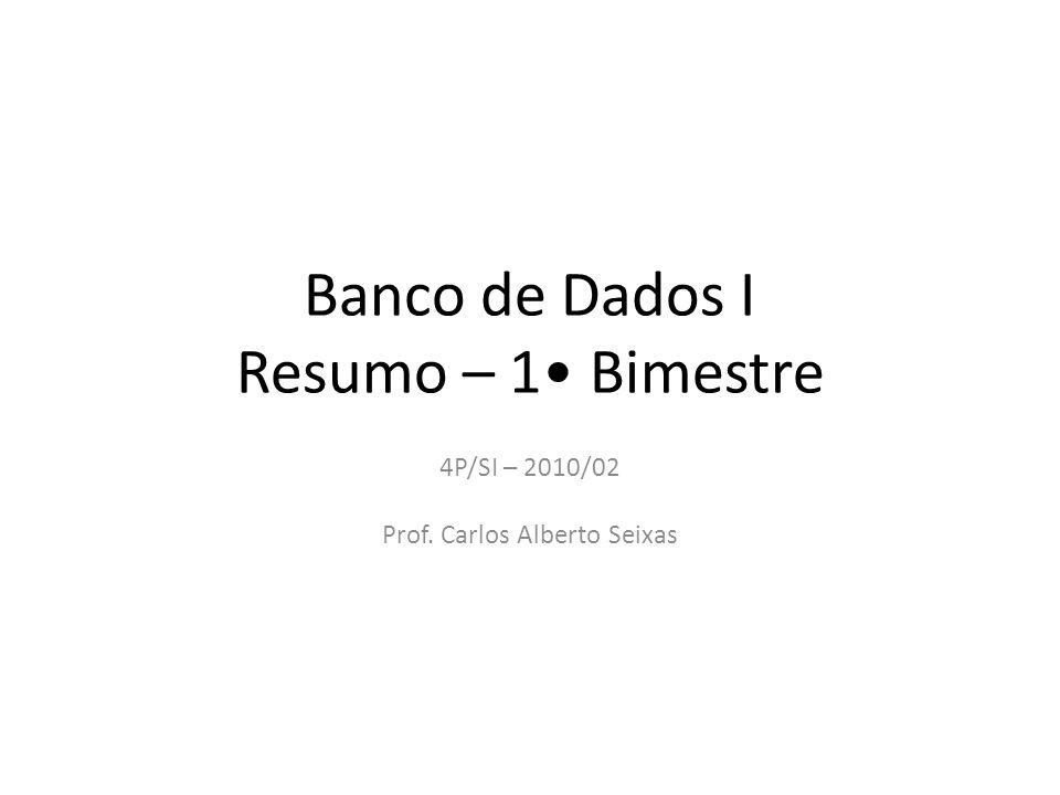 Banco de Dados I Resumo – 1 Bimestre 4P/SI – 2010/02 Prof. Carlos Alberto Seixas