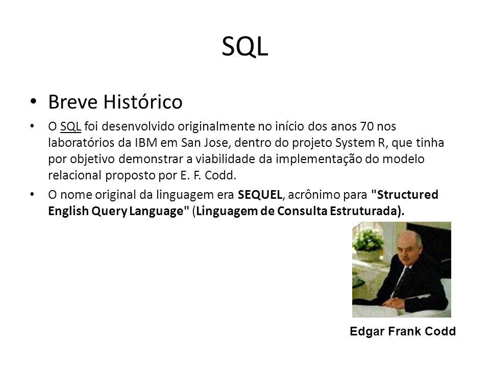 SQL Breve Histórico O SQL foi desenvolvido originalmente no início dos anos 70 nos laboratórios da IBM em San Jose, dentro do projeto System R, que ti