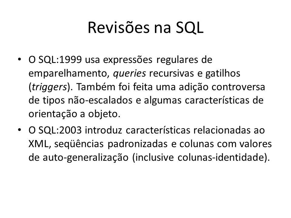 Revisões na SQL O SQL:1999 usa expressões regulares de emparelhamento, queries recursivas e gatilhos (triggers). Também foi feita uma adição controver