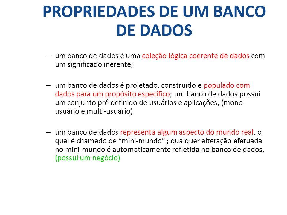 PROPRIEDADES DE UM BANCO DE DADOS – um banco de dados é uma coleção lógica coerente de dados com um significado inerente; – um banco de dados é projet