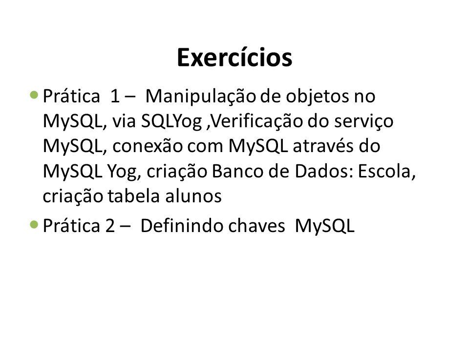 Exercícios Prática 1 – Manipulação de objetos no MySQL, via SQLYog,Verificação do serviço MySQL, conexão com MySQL através do MySQL Yog, criação Banco