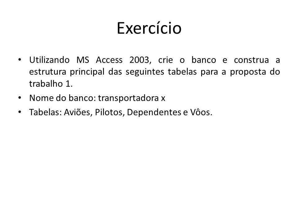 Exercício Utilizando MS Access 2003, crie o banco e construa a estrutura principal das seguintes tabelas para a proposta do trabalho 1. Nome do banco: