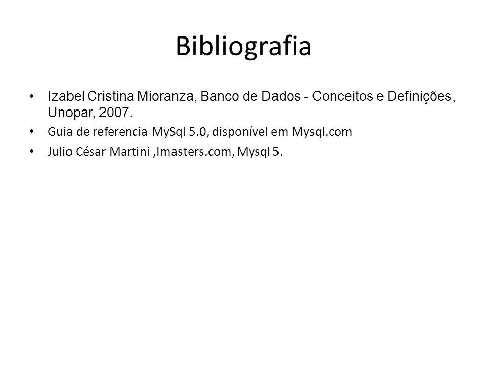 Bibliografia Izabel Cristina Mioranza, Banco de Dados - Conceitos e Definições, Unopar, 2007. Guia de referencia MySql 5.0, disponível em Mysql.com Ju
