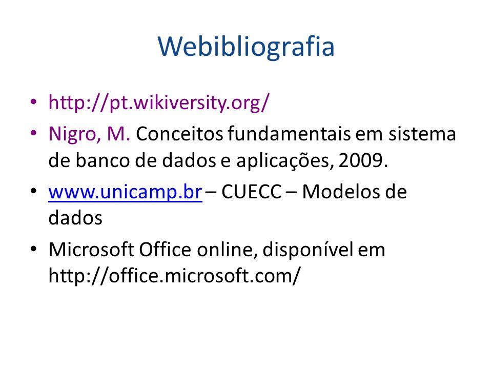 Webibliografia http://pt.wikiversity.org/ Nigro, M. Conceitos fundamentais em sistema de banco de dados e aplicações, 2009. www.unicamp.br – CUECC – M