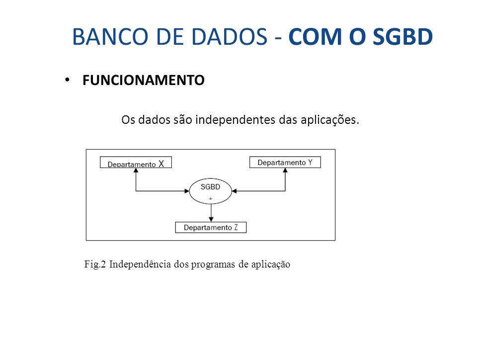 BANCO DE DADOS - COM O SGBD FUNCIONAMENTO Os dados são independentes das aplicações. Fig.2 Independência dos programas de aplicação