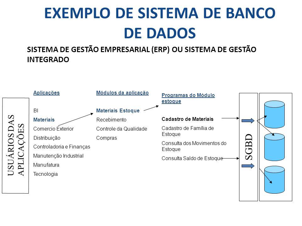 EXEMPLO DE SISTEMA DE BANCO DE DADOS SISTEMA DE GESTÃO EMPRESARIAL (ERP) OU SISTEMA DE GESTÃO INTEGRADO Módulos da aplicação Materiais Estoque Recebim