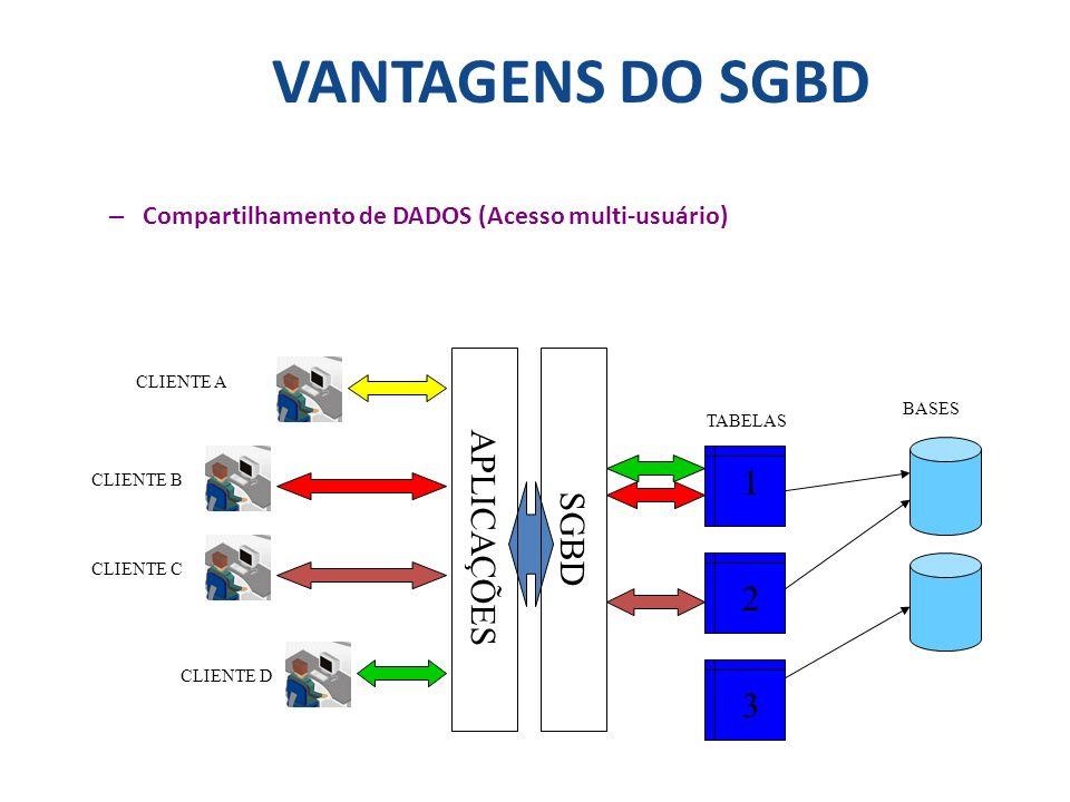 VANTAGENS DO SGBD – Compartilhamento de DADOS (Acesso multi-usuário) TABELAS CLIENTE A CLIENTE B CLIENTE C CLIENTE D 1 2 BASES SGBD APLICAÇÕES 3