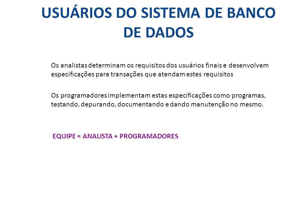 USUÁRIOS DO SISTEMA DE BANCO DE DADOS Os analistas determinam os requisitos dos usuários finais e desenvolvem especificações para transações que atend