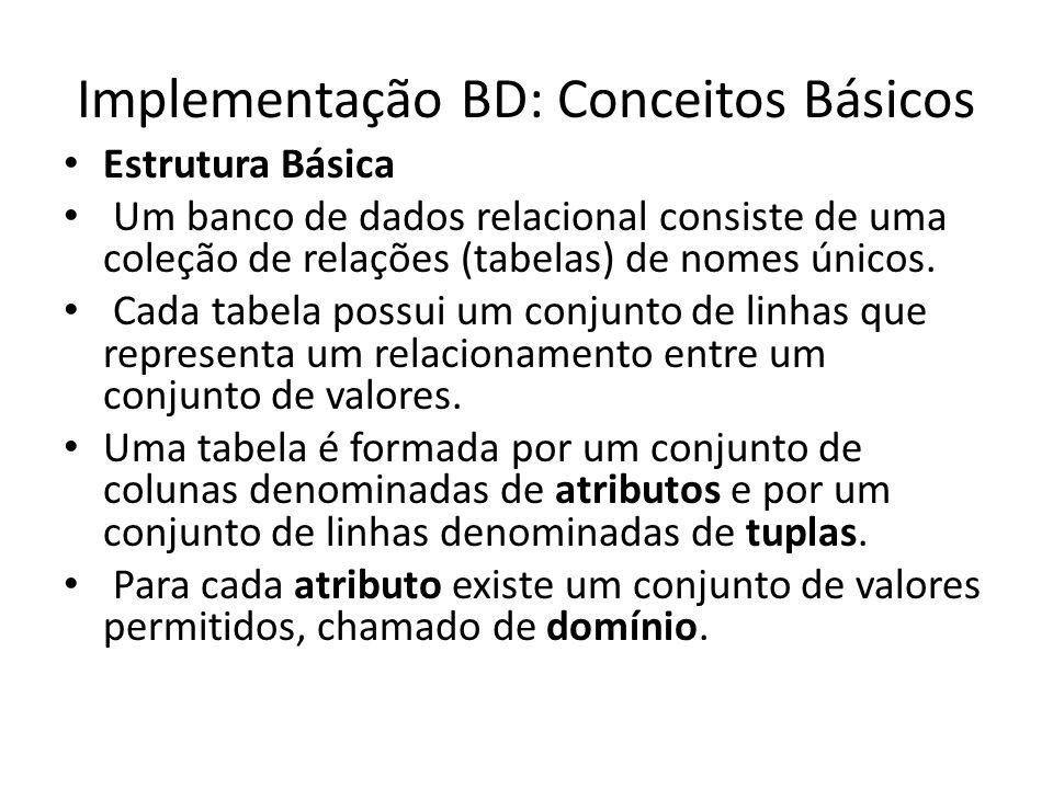 Implementação BD: Conceitos Básicos Estrutura Básica Um banco de dados relacional consiste de uma coleção de relações (tabelas) de nomes únicos. Cada