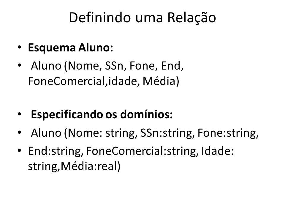 Definindo uma Relação Esquema Aluno: Aluno (Nome, SSn, Fone, End, FoneComercial,idade, Média) Especificando os domínios: Aluno (Nome: string, SSn:stri
