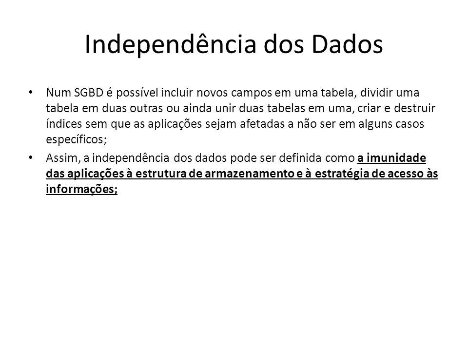 Independência dos Dados Num SGBD é possível incluir novos campos em uma tabela, dividir uma tabela em duas outras ou ainda unir duas tabelas em uma, c